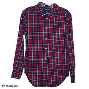 Ralph Lauren Boy's Red Plaid Collared Shirt Size L